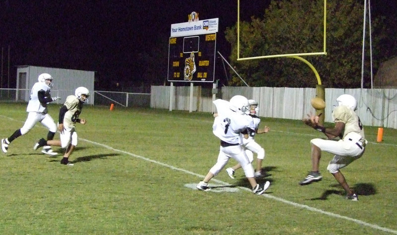 Image: Harris has touchdown — Paul Harris (#84) caught this ball and added points to the board Thursday night in a game against Dawson.