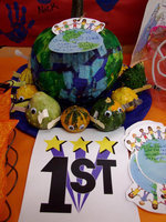 "Image: First place winner — The ""world"" pumpkin, won first place."