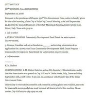 Image: City council agenda 09/22/2008 — The council for the City of Italy has called a meeting to hold a public hearing concerning a Community Development Fund Grant for water system improvements.