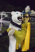 Image: Mascots — The Frost Polar Bear welcomes The Gladiator.