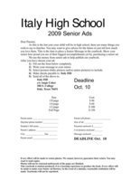 Image: Senior Ads submission form — The deadline to submit Senior Ads is October 10, 2008.