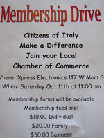 Image: Membership drive Italy Chamber — Italy Chamber of Commerce needs members. A membership drive is scheduled for Saturday, October 11.