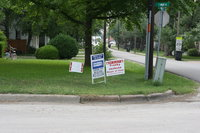 Image: Signs at the corner of S. Ward Street and Park on Tuesday morning, May 10, 2011.