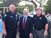 Image: Italy Police Chief, Diron Hill with County DA Wilson and Sheriff Brown