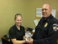 Image: Shelbee Landon, was sworn in as a new police officer for the City of Italy.