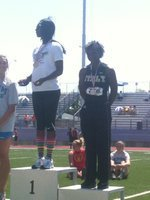 Image: On the podium as the second place finisher in the long jump at the regional meet in Stephenville, Texas.
