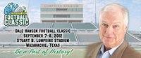 Image: The official website for the inaugural Dale Hansen Football Classic promoting September football match ups between Italy and Malakoff, the Florence Buffaloes versus the Thrall Tigers and the Alvarado Indians versus the Mexia Blackcats is live!