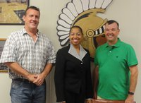 Image: School board members Russ Lewis and Paul Cockerham welcome Myla Wilson