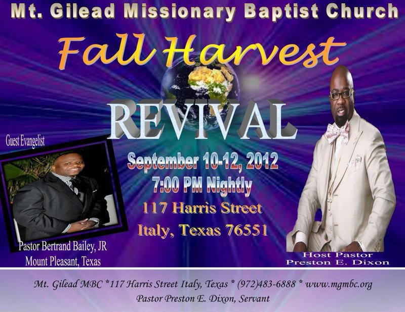 Fall Harvest Revival planned at Mt  Gilead Missionary Baptist Church