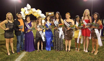 Image: 2012 Homecoming Queen Alyssa Richards stands with her court: her princesses: (L-R): The 2011 Homecoming Queen Megan Richards, the 2011 Homecoming King Omar Estrada, queen nominees Morgan Cockerham, Felicia Little, Paola Mata, Alyssa Richards and Katie Byers, and princesses Kendra Copeland, Madison Washington and Julissa Hernandez.