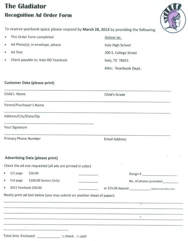 Yearbook Order Form Personalize Your Italy Isd With A Recognition Ad