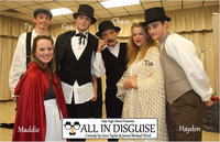 "Image: The cast of ""All In Disguise"" following an encore performance inside the Italy High School band Hall on Tuesday: Marco/Ty Windham, Colombina/Maddie Pittman, Piporello/Gus Allen, Pantalone/Chace McGinnis, Florinda/Tia Russell and Flavio/Hayden Woods."