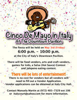 Image: Join Señor Mayor Frank Jackson for the 1st Annual Cinco de Mayo Fiesta at the newly constructed downtown Italy Pavilion. The fiesta will be held on May 3rd (Friday) from 6:00 p.m. – 10:00 p.m. Vendor applications available at Italy City Hall.