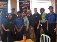 Image: Anna Luna, Ratara Singleton, Officer Daniel Pitts, Tieria Sheara, Lupe Tapia, Officer Pedro Gonzalez, Officer Nicholas Moore, Jonnetta Hardin and David Retter were proud to be a part of Coffee with Cops.