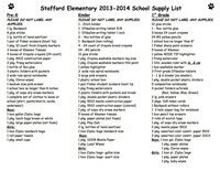Image: Stafford Elementary School Supply List – page 1 For optimal printing click on image twice to get it to it's largest state. Then right click, download and print.