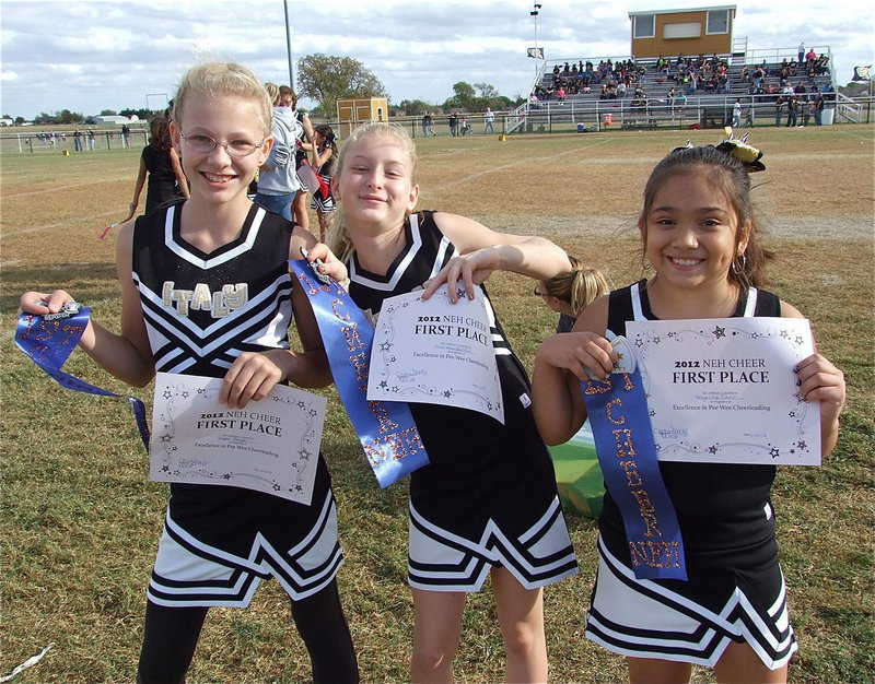 Image: The IYAA A-Team cheerleaders display their 1st place certificates and ribbons after winning the season-long cheer competition.