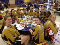Image: The Lady Gladiators enjoy a break from the action during their Venus Tournament in their fancy new old gold uniforms. Pictured are: Taylor Turner, K'Breona Davis, Paige Westbrook, Bailey Eubank, Halee Turner, Madison Washington, Monserrat Figueroa, Cassidy Childers, Jaclynn Lewis, Kortnei Johnson, Kelsey Nelson and Tara Wallis. Looking good, Ladies!