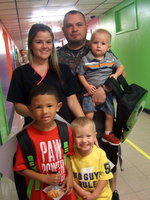Image: Tiffany Surels, Justin Posey, Easton Posey, Jaden Story and Carson Posey. Jayden is in the first grade and Carson is going to Pre-K.