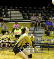 Image: Italy junior Bailey Eubank(1) helps lead the Lady Gladiators to a decisive 3 set win over Bynum.