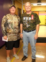 "Image: Brandon Ganske (P.E. teacher) and principal Jonathan Nash get into Red Ribbon week with all their ""Camo."""