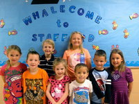 Image: Pre-k, kindergarten, first grade and second grade October Students of the Month. PreK: Tucker Garza & Tristan Worthy Kindergarten: Brit Holliday & Miranda Wims 1st Grade: Braydon Sigler & Lily Huggins 2nd Grade: Michael Travis & Gabi Haake