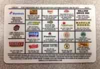 Image: The back of the Gladiator discount card shows 19 different locations that accept the card. Deals range from free pizza's to discounted purchases. The price of the card is $10.00 but can quickly pay for itself!
