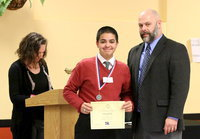 Image: Isaac Garcia earned 2nd place in the UIL's 7th Grade Listening category. Garcia poses with Italy High School Principal Lee Joffre.