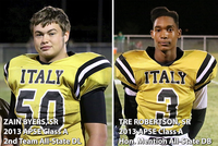 Image: Italy Gladiator Football seniors, Zain Byers, and, Trevon Robertson, were selected as 2013 All-State performers by the Associated Press Sports Editors.