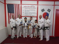 Image: Pictured here: Master Charles Kight-Chief Instructor of the school,  Javier Gonzalez, Michael Gonzalez, Michael Russell, and Nick Sam all of Italy and Danny Smith-Sparring Instructor and David Jones-Instructor.