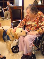 Image: Trinity Mission resident is loving Phoebe the dog of comfort.