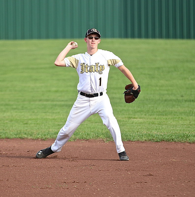 Image: Second-baseman Hunter Ballard(1) covers a grounder and then throws to first-base for a key out.