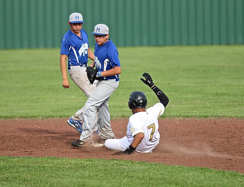 Image: Tristan Cotten(7) beats a Bulldog throw down to steal second-base.