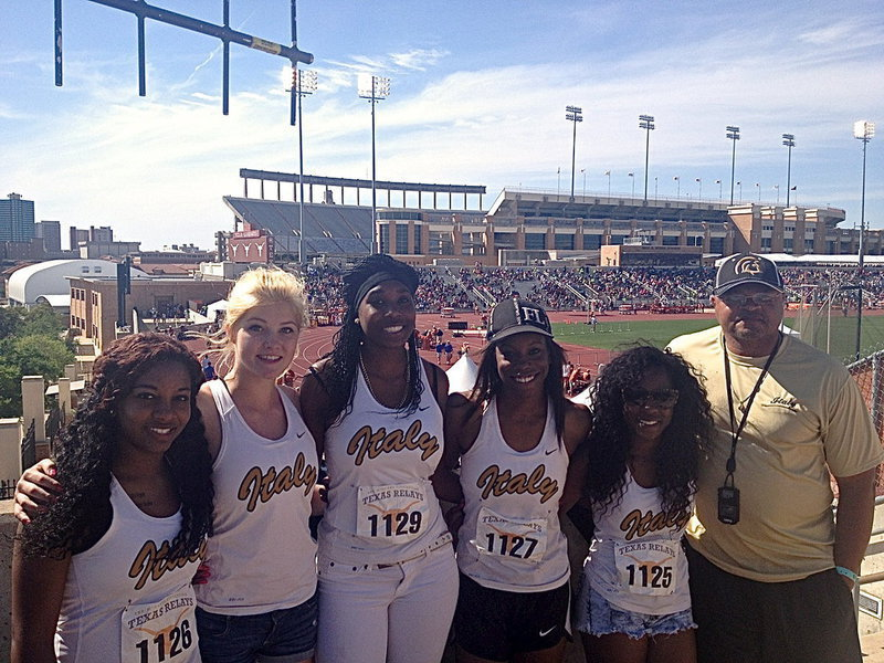 Image: Italy Lady Gladiators Bernice Hailey, Halee Turner, Janae Robertson, Kortnei Johnson and Kendra Copeland, pictured with track coach Bobby Campbell, recently competed in the 2014 87th Clyde Littlefield Texas Relays at Mike A. Myers Stadium in Austin, Texas.
