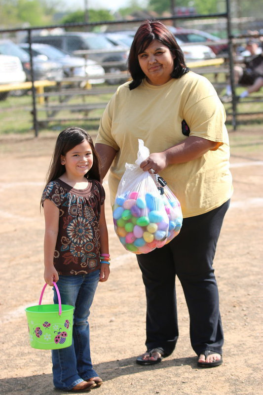 Image: Nelda Carr and her new hair-doo with her daughter Hannah Carr and a full bag of Easter eggs.