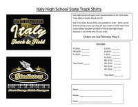 Image: Italy Track Sate Bound Shirts are available to preorder. Shirts can be ordered online or you can drop off your orders to Italy Head Track Coach Bobby Campbell. Contact Coach Campbell by phone at (254)-855-5716 or by email at bcampbell@italyisd.org.