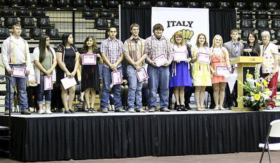 Image: DeeDee Hamilton (far right) presents Carter BloodCare Honor Cords to Zain Byers, Adriana Celis, Monserrat Figueroa, Jessica Garcia, Cody Medrano, Joseph Pitts, Kevin Roldan, Emily Stiles,  Taylor Turner, Jesica Wilkins, Justin Wood and Paige Westbrook.