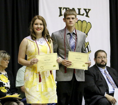 Image: Tying for the Principal's ACT College Readiness Scholarship are Taylor Turner and Justin Wood with scores of 23 on the ACT.