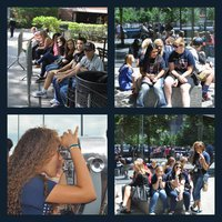 Image: NYC Band Trip Collage Top Left: IHS band students wait outside the American Museum of Natural History for their tickets go enter. Top Right: Noeli Garcia and Madison Washington enjoying the sunshine outside of the 911 museum. Bottom Left: Vanessa Cantu takes a closer look at the Statue of Liberty   from the Top of the Rock Observation Deck Located in midtown Manhattan at historic Rockefeller Center. Bottom Right: Sarah Levy, Alexis Sampley and Vanessa Cantu wait outside of the 911 museum for the next stop in NYC.