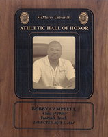 Image: Italy ISD's assistant football coach and head track coach, Bobby Campbell, was recently inducted into the McMurry University Athletic Hall of Fame on May 3, 2014 along with being presented this personalized commemorative plaque.
