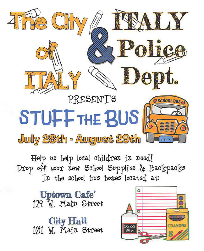 Image: Help local children in need and drop off your donations of new school supplies and new backpacks inside the School Bus Boxes located at Italy's Uptown Cafe and City Hall. STUFF THE BUS!