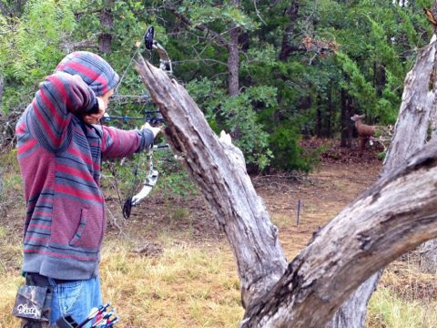 Image: Hinz enjoys the outdoor elements of 3D archery, especially during the cooler temperatures of last weekend.