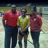 Image: Italy High School track star Kortnei Johnson is pictured with University of Houston head coach Leroy Burrell, a former olympic champion, and UH women's track coach Debbie Ferguson-McKenzie who also has an olympic gold medal. Both coaches were in Italy on a recruiting visit with Johnson.