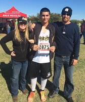 Image: Italy High School junior Gladiator Mason Womack (#1875) represented the Gladiators as the first male cross country runner to compete at UIL regionals in recent times. Here, Womack is pictured with his parents Michelle and Troy Kowalsky during the event which was hosted by the University of Texas at Arlington.