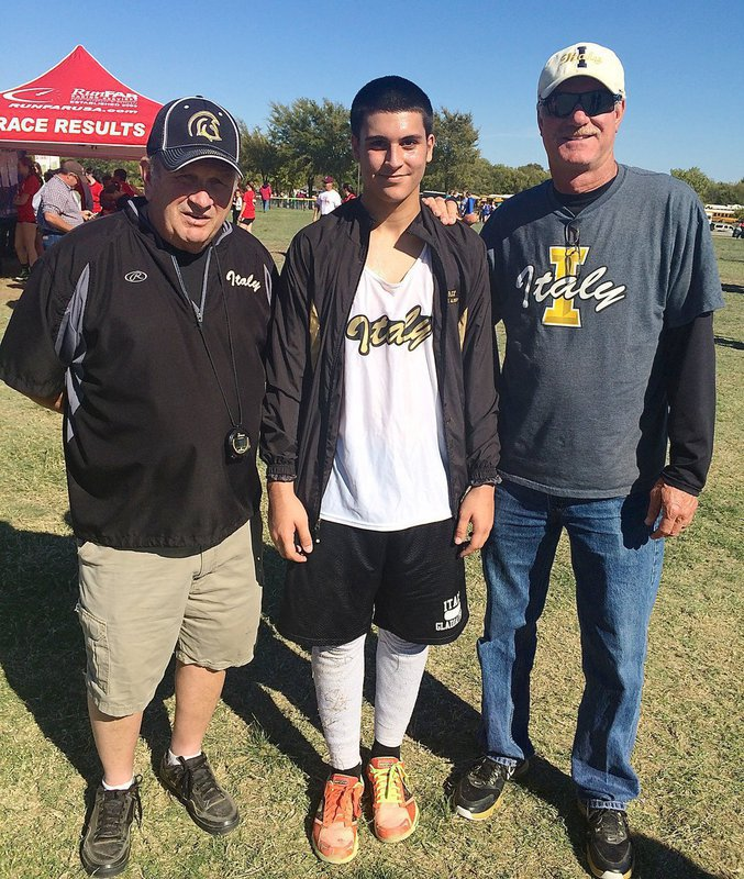 Image: Junior Gladiator and cross country runner Mason Womack with his head coach Johnny Jones (on the left) and Italy ISD Athletic Director/HFC Charles Tindol during the 2014 UIL Cross Country Regionals held at UT in Arlington.