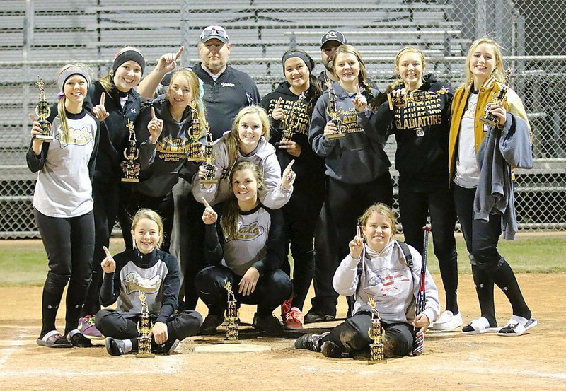 Image: Congratulations to members of the Italy Lady Gladiator Softball program for emerging as CHGSA Fall Classic Tournament Champions after defeating South Grand Prairie 3-2 in their fall ball finale. Pictured on the back row (L-R) are coaches Allen Richards and Shawn Holden. Middle row (L-R) Bailey Eubank, Jaclynn Lewis, Hannah Washington, Kelsey Nelson, Jenna Holden, Brooke DeBorde, Brycelen Richards and Madison Washington. Bottom row (L-R) Britney Chambers, Lillie Perry (Catcher) and Jill Varner.