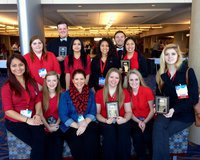 Image: FCCLA 2015 Competition Participants Back Row: Taylor Perry, Zac Mercer, Lupita Rincon, Julissa Hernandez, Chace McGinnis, Marlin Hernandez;  Front Row: Ana Luna, Kirsten Viator, Jennifer Eaglen, Tia Russell, Kirby Nelson, Halee Turner