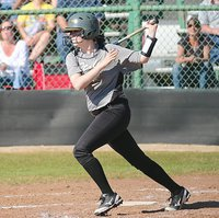 Image: The bat of senior Lady Gladiator Kelsey Nelson(14) is something to be feared by opponents.