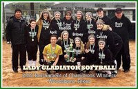 Image: Congratulations to the Italy Lady Gladiators who posted 5 shutouts and scored a perfect 25 to win the 2015 Tournament of Champions in Woodsboro. Back row(L-R): Assistant Coach Michael Chambers, Tara Wallis, Brooke DeBorde, Brycelen Richards, Head Coach Tina Richards, Jenna Holden, Kelsey Nelson, Jaclynn Lewis and Assistant Coach Johnny Jones. Front row (L-R): April Lusk, Madison Washington, Britney Chambers, Lillie Perry and Cassidy Childers.