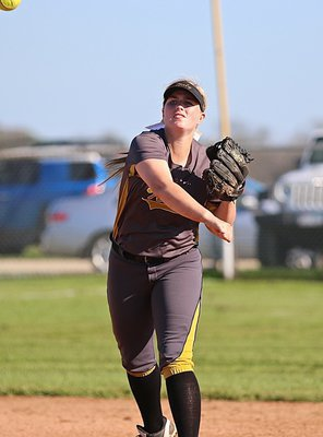 Image: Against Frost, Madison Washington(10) saw plenty of action at shortstop for the Lady Gladiators.