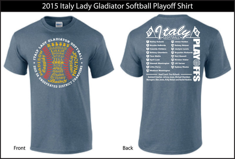 Image: 2015 Lady Gladiator Softball playoff shirt design.     Heathered Indigo Gildan Tshirts with three color design.